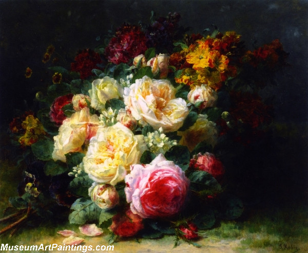 A Bouquet of Cabbage Roses Painting