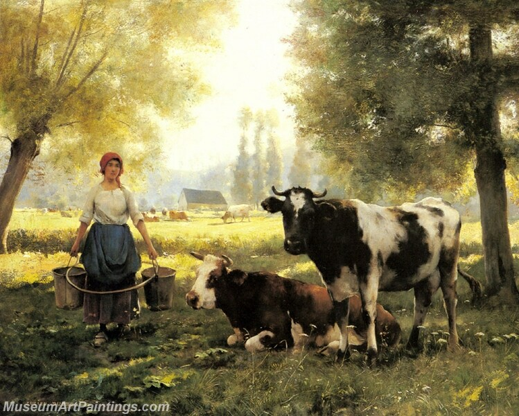 A Milkmaid with her Cows on a Summer Day Painting