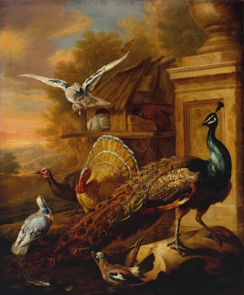 A Peacock and Other Birds in a Landscape by Marmaduke Cradock