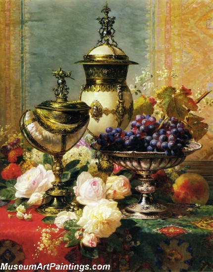 A Still Life with Roses Grapes and A Silver Inlaid Nautilus Shell Painting