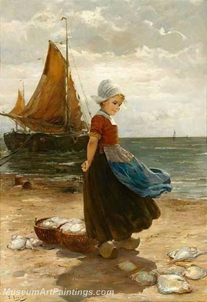 A Volendam Girl on the Beach by Edmond Louyot