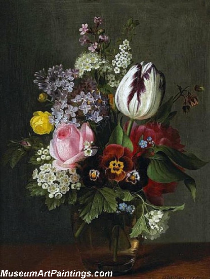 A still life with a rose a tulip pansies and other flowers in a glass vase