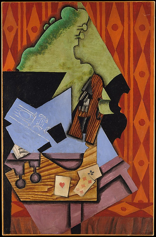 Abstract Paintings Violin and Playing Cards on a Table