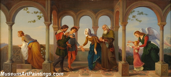 An angel brings St Catherine to her parents Painting
