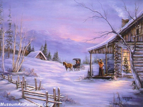 Arriving at the Christmas Cabin Painting