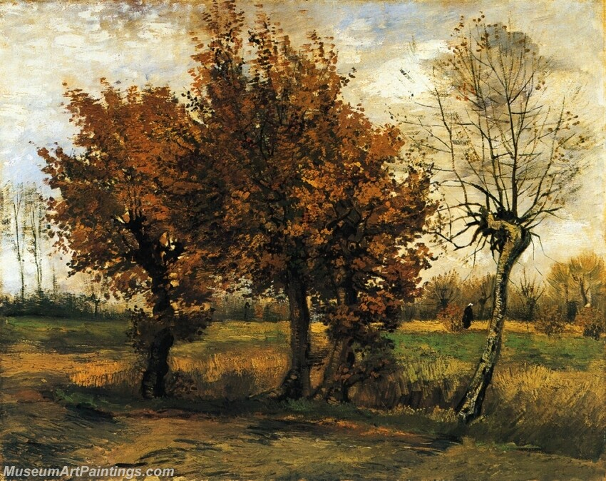 Autumn Landscape with Four Trees Painting