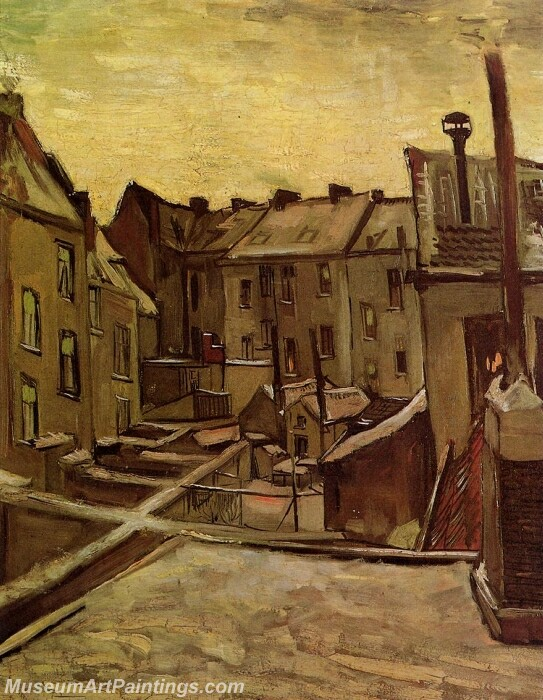 Backyards of Old Houses in Antwerp in the Snow Painting