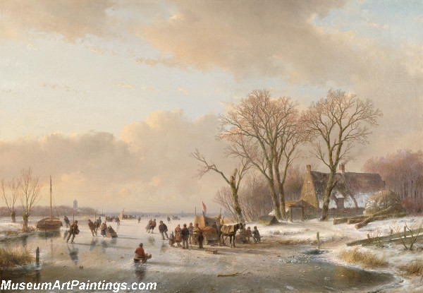 Canal landscape in winter Painting
