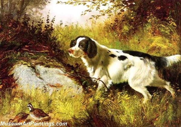 Dog Painting Dog and Quail