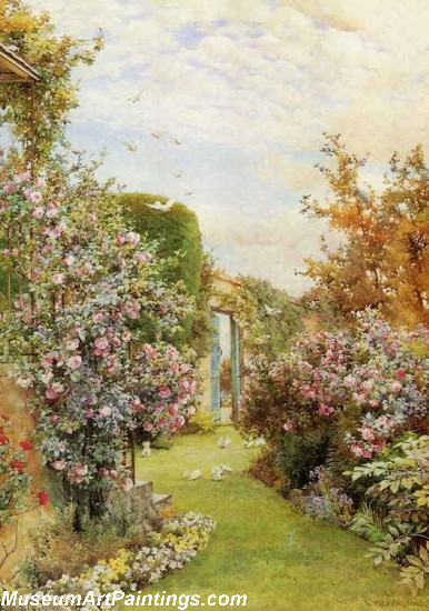 Flower Garden Paintings Garden With China Roses