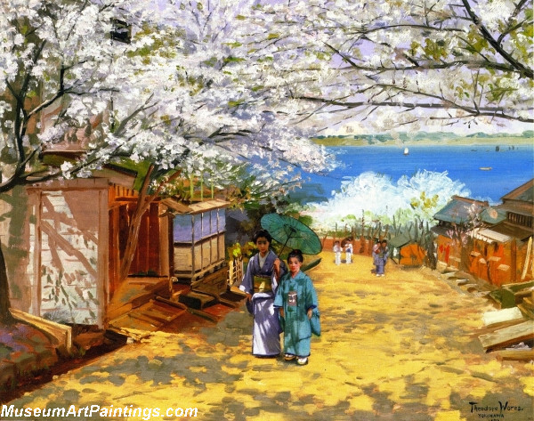 Flower Garden Paintings Sunshine and Cherry Blossoms Nogeyama Yokohama