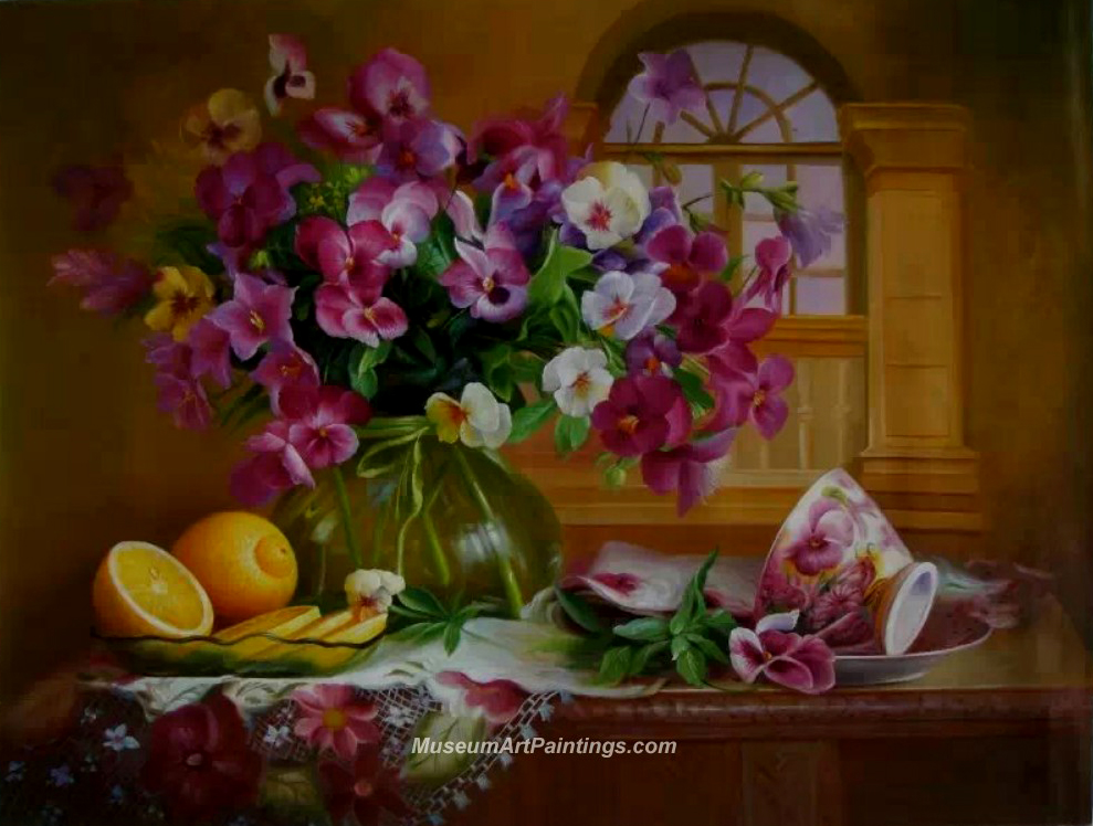 Flower Oil Painting Phalaenopsis  and Lemon