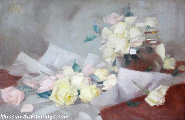 Flower Oil Painting Pink and Yellow Roses