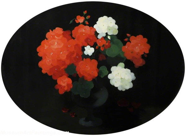Flower Oil Painting Red and White Geraniums