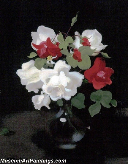 Flower Oil Painting Red and White Roses 1