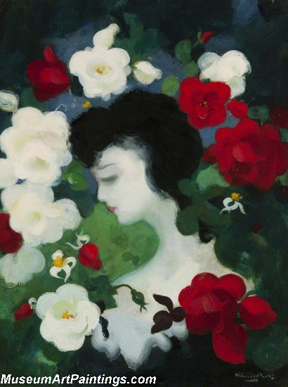 Flower Oil Painting Woman with Flowers