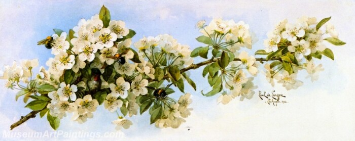 Flower Painting Apple Blossoms with Hummingbird and Bumblebees