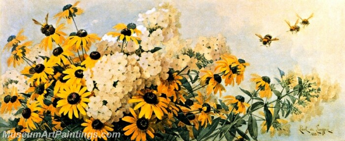 Flower Painting Black Eyed Susans and Phlox