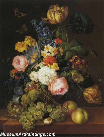 Flowers and fruit with a birds nest on a ledge