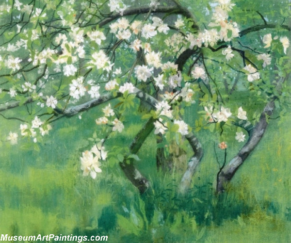 Garden Painting Apple Tree in Blossom