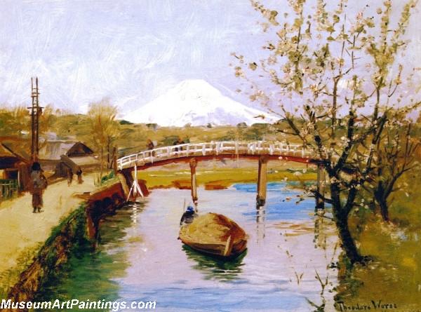 Garden Painting View of Mount Fujiyama from Yokohama
