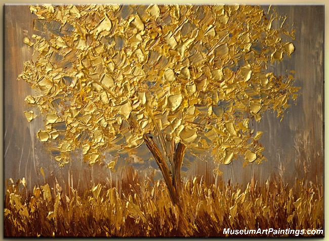 Gold Tree Landscape Painting 005