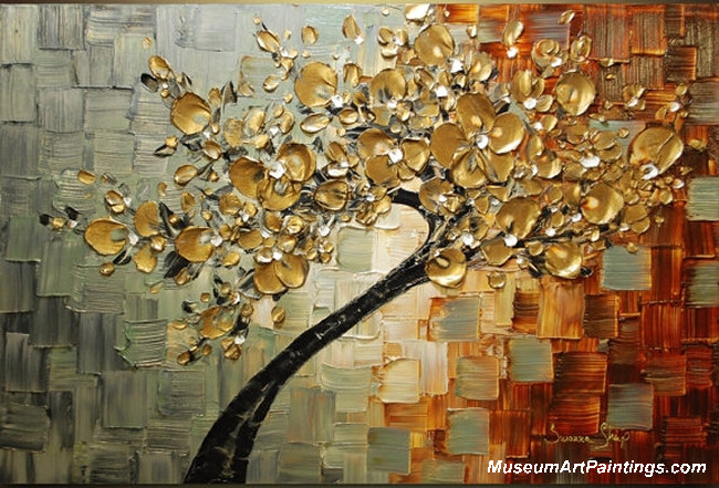 Gold Tree Landscape Painting 007