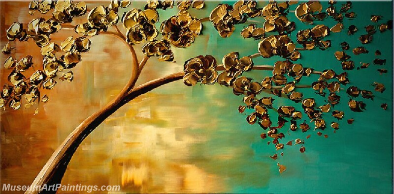 Golden Flower Tree Painting Modern Abstract Art for Sale GT029