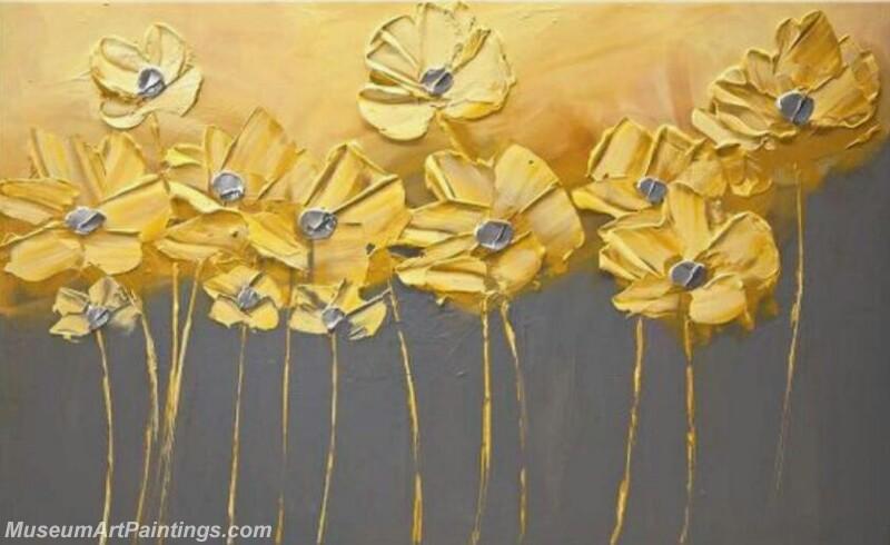 Golden Flowers Painting Modern Abstract Art MAA5