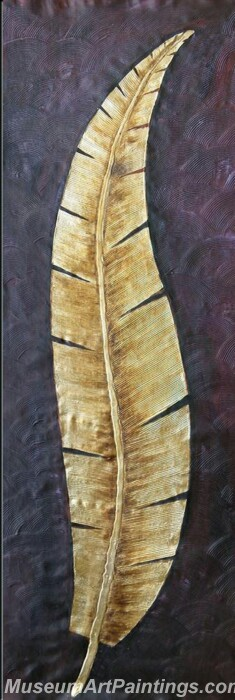 Golden Leaves Oil Painting Modern Wall Abstract Art On Canvas