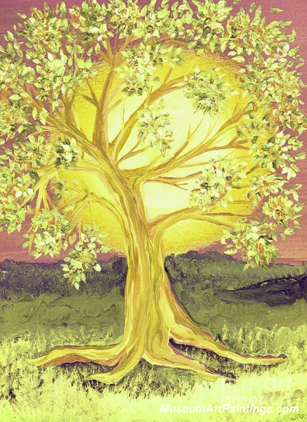 Golden Tree Landscape Painting 011