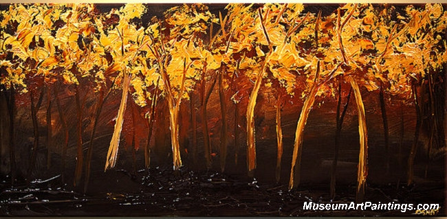 Golden Tree Landscape Painting 012