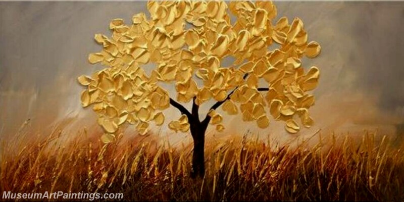 Golden Tree Painting Modern Abstract Art for Sale GT013