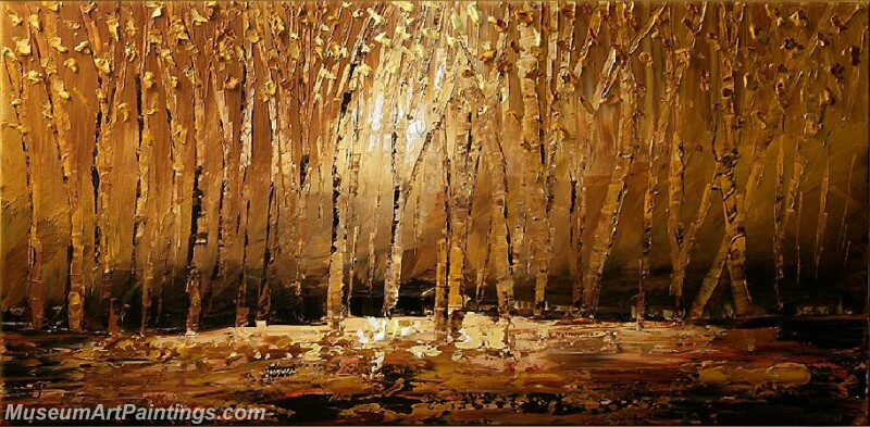 Golden Tree Painting Modern Abstract Art for Sale GT028