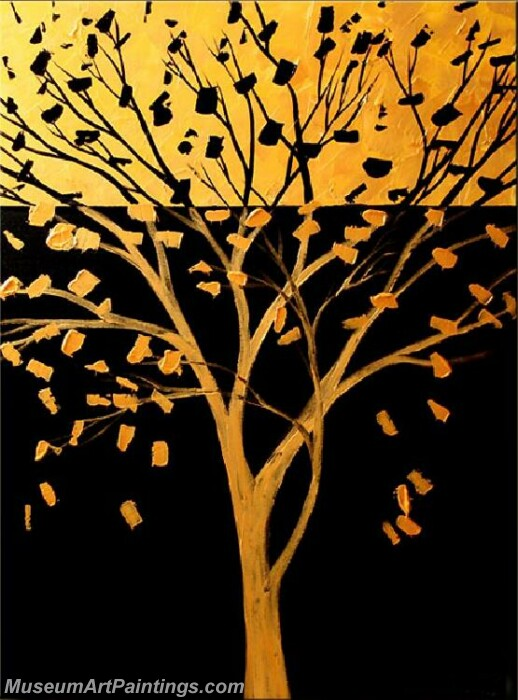 Golden Tree Painting Modern Abstract Art for Sale GT031