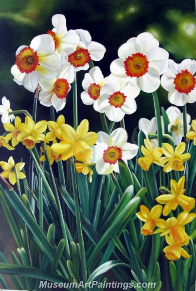 Handmade Flower Oil Painting Daffodils