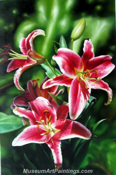 Handmade Flower Oil Painting Pink Lilies