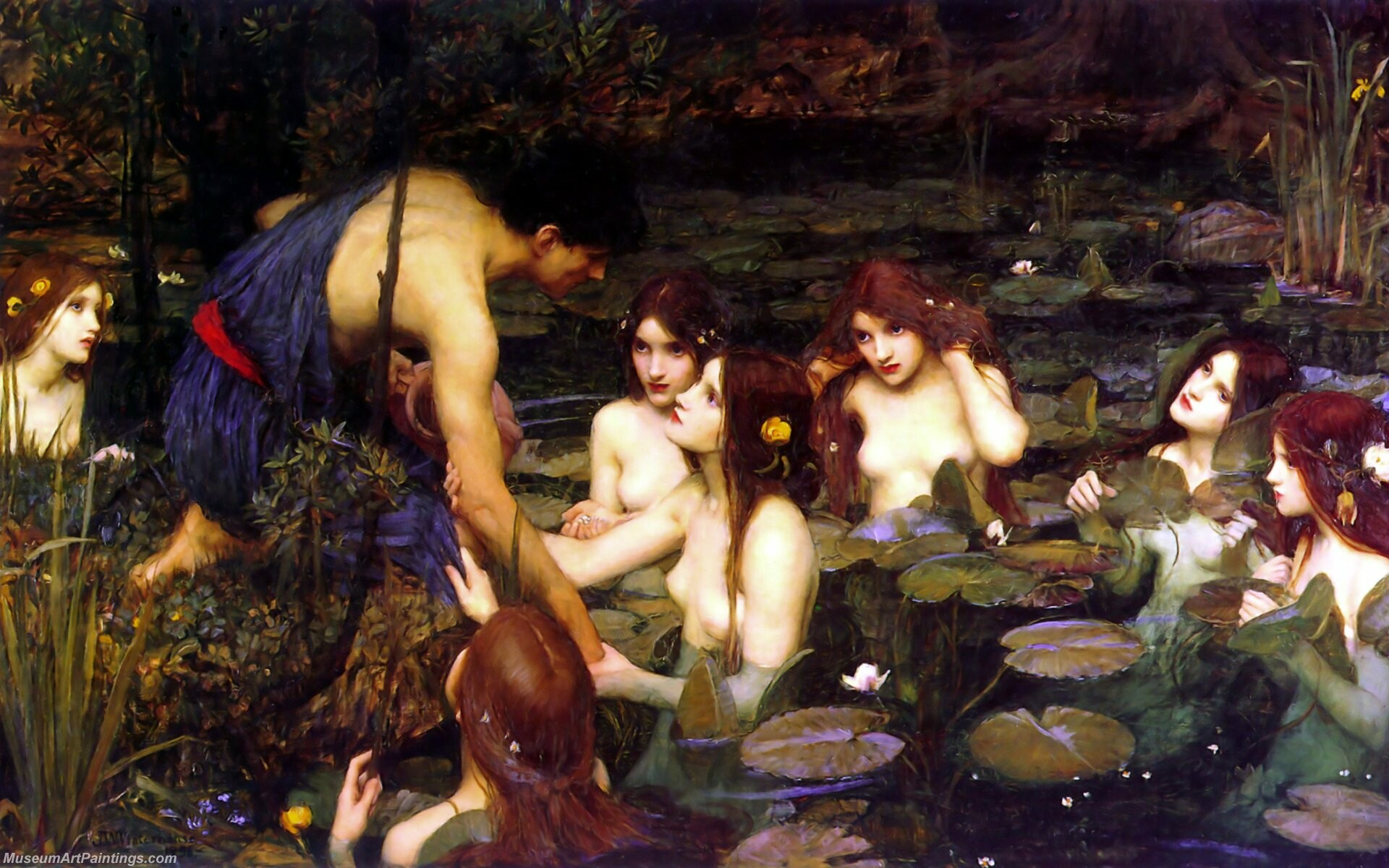 Hylas and the Nymphs Painting