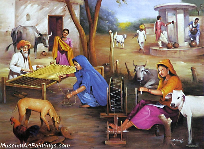 Village Life Paintings Easy Indian Village Paintin...