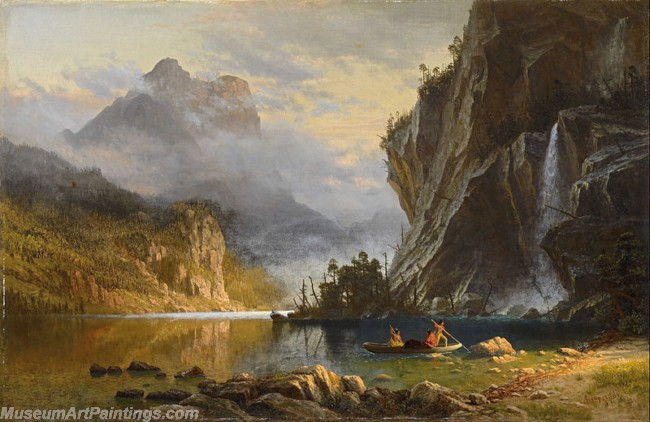 Landscape Paintings Albert Bierstadt Indians Spear Fishing