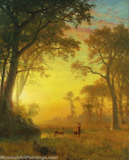 Landscape Paintings Albert Bierstadt Light in the Forest
