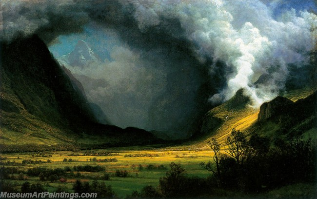 Landscape Paintings Albert Bierstadt Storm in the Mountains