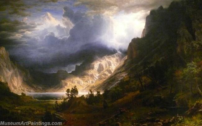Landscape Paintings Albert Bierstadt Yosemite Valleystorm over the rocky mountains