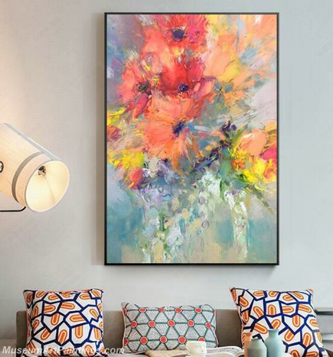Living Room Paintings for Sale Abstract Flower Painting B54