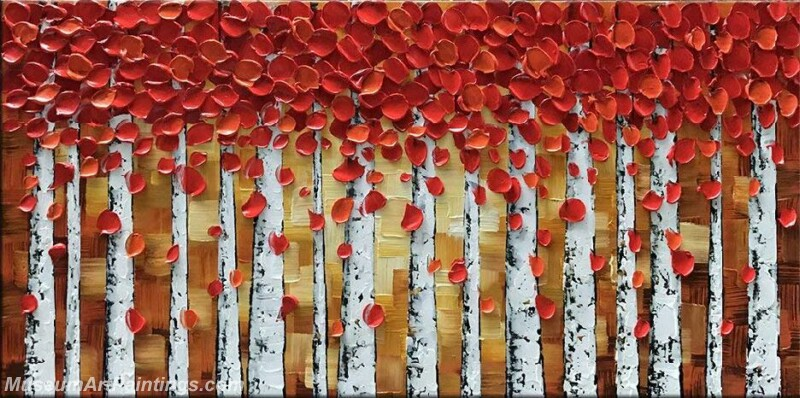 Modern Landscape Tree Painting Red Leaves