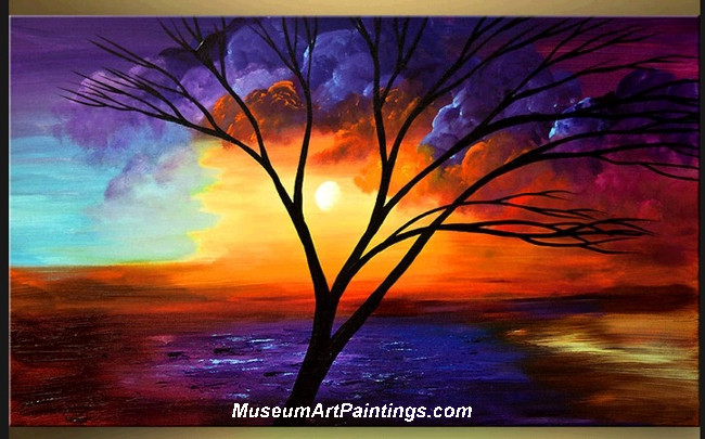 Palette Knife Oil Painting Landscape Tree 009
