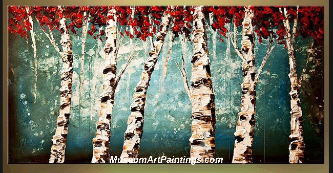 Palette Knife Oil Painting Landscape Tree 010