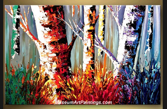 Palette Knife Oil Painting Landscape Tree 013