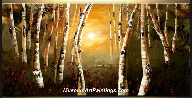 Palette Knife Oil Painting Landscape Tree 018