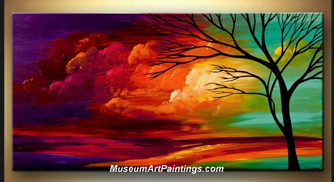 Palette Knife Oil Painting Landscape Tree 020